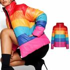 Ladies Bubble Rainbow Puffer Quilted Padded Womens Jacket Coat