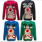 UNISEX WOMENS MEN  POM POM RUDOLPH REINDEER XMAS CHRISTMAS JUMPER SWEATER S-4XL