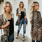 US Women Casual Slim Leopard Print Cardigan Jacket Coat Button Down Outwear Tops