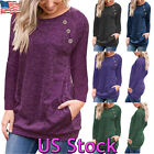 Women's Autumn Long Sleeve Crew Neck Pullover Blouse Tops T Shirt Casual Pocket