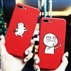Phone Case For iPhone 7 6 6S 8 8S Plus X Meme Red Cover Soft Ultra Thin Slim Cat