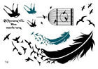 Swallow Birdcage Feather Waist Arm Neck Waterproof Temporary Tattoo T3