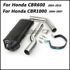 For Honda CBR600 CBR1000 Slip on Connecting Middle Pipe + Exhaust Muffler Pipe