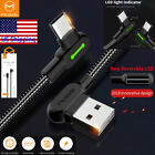 MCDODO 90° Elbow LED USB Type C Fast Charge Cable For Samsung S10 S9 Note 9 8 LG
