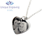 Personalised Photo/Text Engraved Heart Necklace Pendant - Great Christmas Gift! <br/> Can be engraved with images or messages on either side!