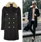 TOPSHOP Black Faux Fur Collar Double Breasted Coat Winter Jacket Sizes 6 to 16