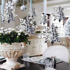 Внешний вид - 6PC Hollow Snowflake 3D Colorful Xmas Tree Ornament Romantic Shimmer Home Decor