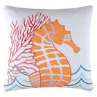 orange seahorse throw pillow by c
