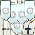 Ladies White Handkerchiefs Personalised Flower Wreath Initials Name Letters Pink