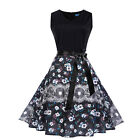 Women Autumn Retro Vintage 60s Printed Belted Party Cocktail Swing Dress p1160