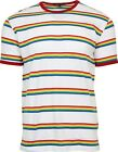 Mens Run & Fly White Ringer Retro Indie Rainbow Striped T-Shirt 60s 70s 80s