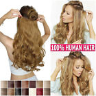 Thick Full One Piece 5 Clips On Body Wavy 100% Remy Human Hair Extension 120g