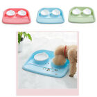 Pet Food Bowl Double Feeder Plastic Bone Shape Splash Proof For Puppy Dog Cat