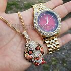 Iced Out 6ix9ine Saw Inspired Necklace & Red Face Gold plated Metal Watch Set image