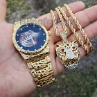 MEN ICED OUT GOLD PLATED TIGER DIAL GOLDEN NUGGET WATCH & NECKLACE COMBO SET  image