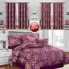 Luxury 7 Piece Jacquard Bedroom Bedding Sets Ruby Purple With Matching Curtains