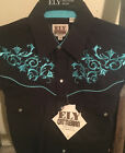 Western Shirt Ely Cattleman L/S Solid BLACK Turquoise Embroidery 15203945-89