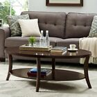 Roundhill Furniture Perth Oval Coffee Table with Shelf
