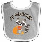 Inktastic 1st Thanksgiving Holiday Raccoon Baby Bib Babys First Feast Fall Gift