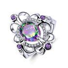 Fashion women's Colorful Topaz Ring Wedding Engagement Princess Party Size 6-10