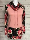 P.S. Kate Floral Pink Black Cowl Pullover Boutique Top Knit Tee S M L