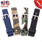 Camo Canvas Nylon Sports Watch Strap Wrist Band Wristwatch Band 18 20 22 24mm US