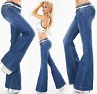 Sexy Women's mid rise Flared Jeans Wide Trousers Light Blue Faded UK 4 6 8 10 12