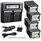 Kastar Battery Dual LCD Fast Charger for Canon BP-820 BP820 BP-828 BP828 Battery