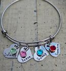 Name Bracelet Custom personalized birthstone Jewelry Heart charm Mother Mom Gift