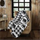 Black Bear Buffalo Plaid Printed Quilted Throw Lodge Cabin Country Rustic image
