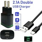 For Samsung Galaxy S8 S9 Note 8 9 2.1A Dual USB Wall Charger + 6ft Type-C Cable