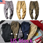 Chic Men's Elastic Waist Overall Pants Loose Baggy Military Cargo Work Trousers