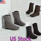 Women Winter Warm Suede Booties Shoes Fashion Buckle Flat Short Ankle Snow Boots