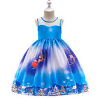 Christmas Kids Girls Pleated Dress Ball Gown Birthday Princess Party Santa Claus