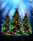 'Small Colour Changing Fibre Optic Christmas Xmas Tree Battery Operated Green Pvc