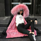 Women 100% Natural Real Fox Fur Hooded Rabbit Fur Lined Parkas Duck Down Sleeves