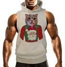 Men's Chubby Cat Christmas Ugly Sweater Gray Sleeveless Vest Hoodie Xmas B1531