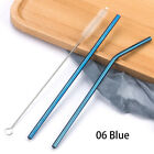 Colorful 304 Stainless Steel Straws Reusable Straight Bent Metal Drinking Straw