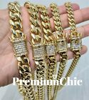 Miami Cuban Link Chain 14k Gold Plated Stainless Steel w. ICED OUT Diamond Clasp