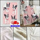 Bulldog Plush Throw Blanket Dot Pink Bed Sherpa Fleece Dog Pug Blanket for Kids