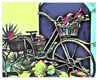 Giclee Fine Art Print Bike Cacti Flower Succulent bicycle Blue Yellow Painting