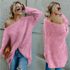 Women's Off Shoulder Sweater Jumper Ladies Baggy Casual Long Sleeve Pullover Top