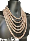 14k Rose Gold Tennis Chain 2 ROW Lab Diamond Iced Out Silver Hip Hop Necklace