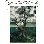 Female Sea Monster And Boat Garden Flag Double-sided House Decor Yard Banner