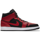 Nike Air Jordan 1 Mid Bred Black Gym Red White Men Shoes 554724-054 Authentic