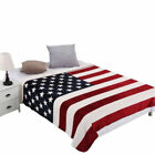Large Flannel Warm Throw Over Bed Soft Blanket Bedspread American UK Flag Print image