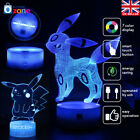 Pokemon Umbreon Pikachu 3D LED Night Light 7 Color USB Table Desk Lamp Gift