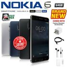 New  Sealed Factory Unlocked NOKIA 6 Black Blue Silver 64GB Android Smartphone