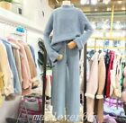 Free Size Womens Cashmere Blend Sweater+Pant Suits Knitwear Wide Leg Pants Warm