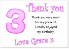 tc 10 Personalised Thank you CARDS & envelopes, thanks birthday party girls 3